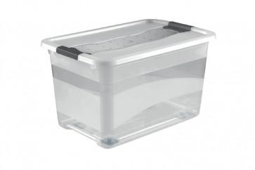 Plastový box Crystal 52 l, průhledný, na kolečkách, 59,5x39,5x35 cm