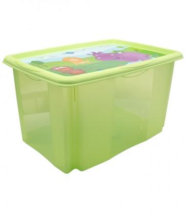 Plastový box Hippo, 45 l, zelený s víkem, 55x39,5x29,5 cm