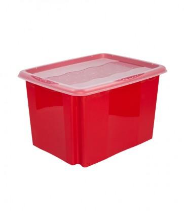 Plastový box Colours, 24 l, červený s víkem