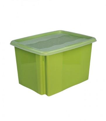 Plastový box Colours, 24 l, zelený s víkem