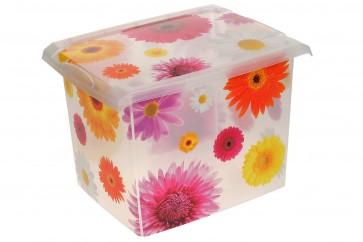 """Plastový box Fashion, """"Pink Flowers"""", 39x29x27 cm - POSLEDNÍCH 3 KS"""