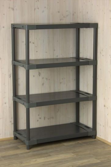 Univerzální plastový regál, 4 police, šedý, 138x90x46 cm