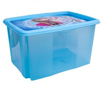 Plastový box Frozen, 45 l, modrý s víkem, 55x39,5x29,5 cm