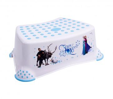 Dětský taburet v bílé barvě s motivem Frozen - 40x28x14 cm