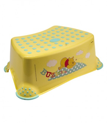 Dětský taburet v žluto medové barvě s motivem Medvídka Pú - 40x28x14 cm - POSLEDNÍCH 8 KS