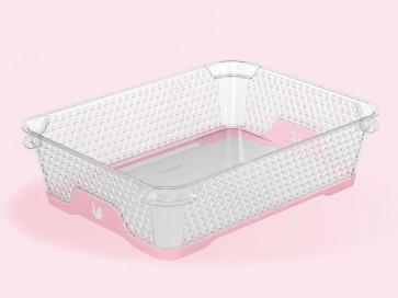 Plastový košík Jonas s protiskluzovým dnem, A5, růžový, 26,5x20x7 cm