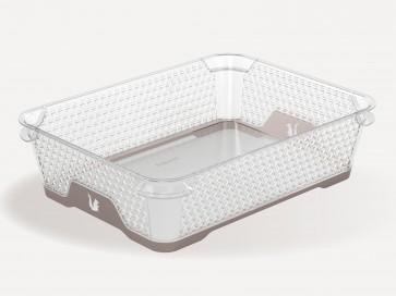 Plastový košík Jonas s protiskluzovým dnem, A5, šedý, 26,5x20x7 cm