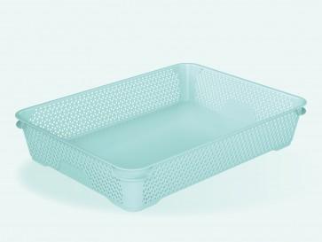Plastový košík Mirko, A4, modrý, 36x26,5x7 cm