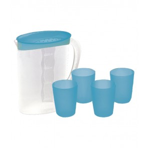 Džbán se 4 kelímky, modré provedení - POSLEDNÍ 3 KS