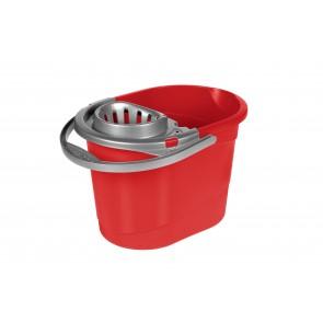 Kbelík se ždímacím systémem pro mop, červený, 13 l - POSLEDNÍ 2 KS