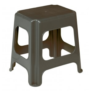 Plastový taburet maxi, grafit, 41x33,5x42,5 cm