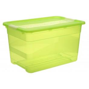 Plastový box Crystal 52 l, svěží zelený, 59,5x39,5x34 cm