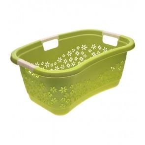 Ergonomický koš na prádlo s měkkým úchytem, KVĚT, 49 l, zelený - POSLEDNÍ 2 KS