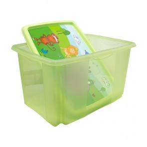 Plastový box Hippo, 45 l, zelený s víkem, 55x39,5x29,5 cm - POSLEDNÍ 3 KS