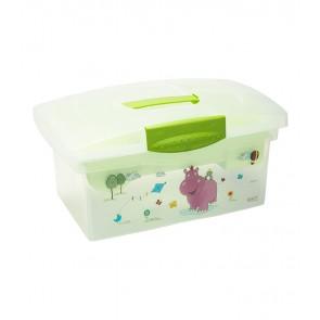 Cestovní box v zelené barvě s motivem Hippo - 40x24x21 cm - POSLEDNÍ 2 KS