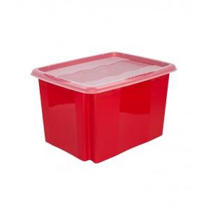Plastový box Colours, 30 l, červený s víkem - POSLEDNÍCH 7 KS