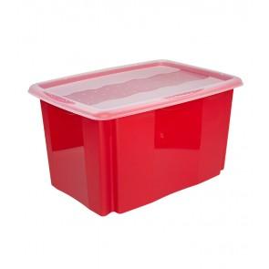 Plastový box Colours, 45 l, červený s víkem