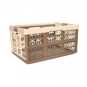 Plastový skládací box, velký, šedo krémový, 54x37x28 cm