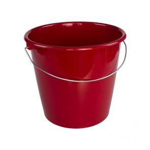 Kbelík s kovovou rukojetí, tmavě červený, 10l
