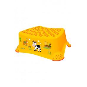 Dětský taburet ve světle oranžové barvě s motivem Funny Farm - 40x28x14 cm - POSLEDNÍCH 11 KS