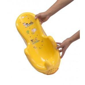 Anatomicky tvarované lehátko ve světle oranžové barvě s motivem Funny Farm - 53x25x22 cm - POSLEDNÍCH 6 KS