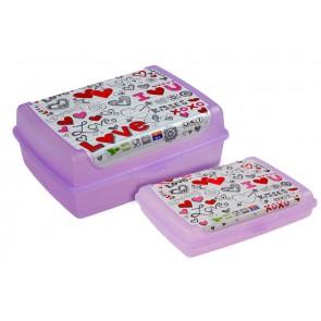 """Plastový box Deco """"Love mini"""" - 0,5l, 17x13x3,5 cm - POSLEDNÍ 4 KS"""