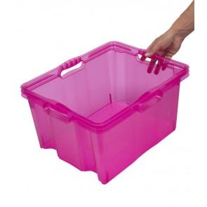 Plastový box Multi XL, svěží růžový, bez víka, 43x35x23 cm