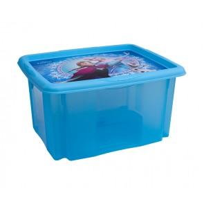 Plastový box Frozen, 24 l, modrý s víkem, 41x34x22 cm POSLEDNÍ KUS
