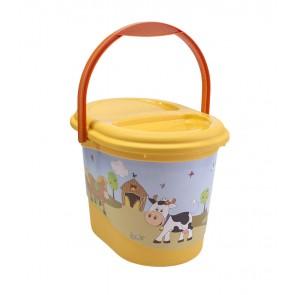Kyblík na pleny ve světle oranžové barvě s motivem Funny Farm - 37x26,5x26 cm - POSLEDNÍCH 7 KS