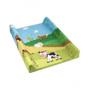 Dětská přebalovací podložka Funny Farm ve světle zelené barvě s metrem - 70x50x10 cm - POSLEDNÍ 2 KS