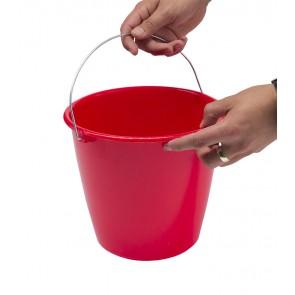 Kbelík s kovovou rukojetí, červený, 5l