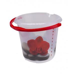 """Plastový kbelík Fashion """"Červený lotos"""", 30x28 cm, Objem 10l."""