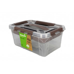 Plastový Clipp box s přihrádkou, 4,2 l , průhledný ,29x19x12,4 cm