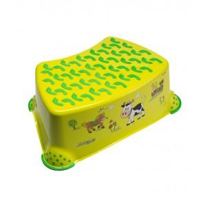 Dětský taburet ve světle zelené barvě s motivem Funny Farm - 40x28x14 cm
