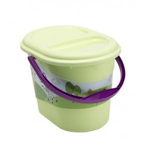 Kyblík na pleny v zelené barvě s motivem Hippo - 37x26,5x26 cm