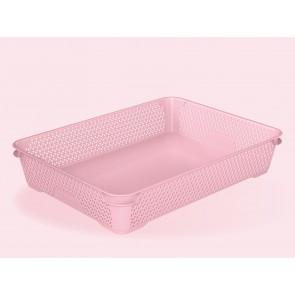 Plastový košík Mirko, A4, růžový, 36x26,5x7 cm