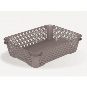 Plastový košík Mirko, A5, šedý, 26,5x20x7 cm