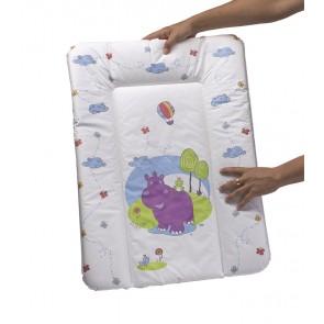 Dětská přebalovací podložka v bílé barvě s motivem Hippo - 70x50x5 cm - POSLEDNÍCH 5 KS
