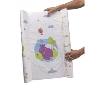 Dětská přebalovací podložka Hippo v bílé barvě s metrem - 70x50x10 cm
