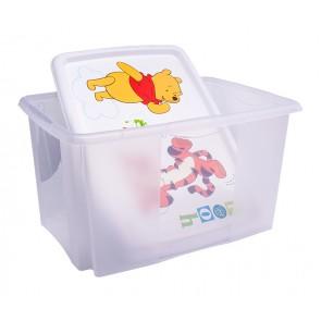 Plastový box Medvídek Pú, 45 l, průhledný s bílým víkem, 55x39,5x29,5 cm - POSLEDNÍ 3 KS
