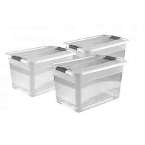 Zvýhodněná sada plastových boxů Crystal 52 l, 3 ks