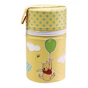 Termoobal na láhev v žluto medové barvě s motivem Medvídka Pú - 21 x ø 10 cm - POSLEDNÍCH 6 KS